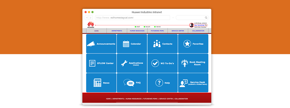 Huawei Responsive Intranet Redesign