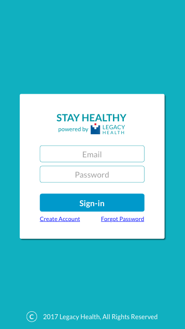Legacy Health Sign-in Screen
