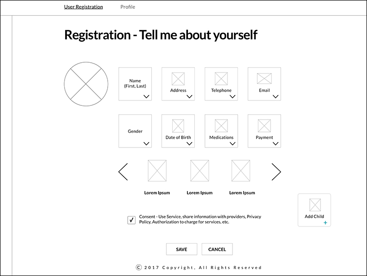 Leagcy Health Registration Page Wireframe