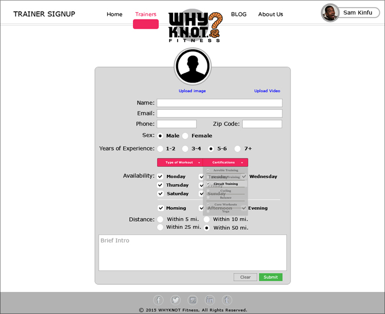 WhyKnot Fitness Trainer Sign-Up Screen